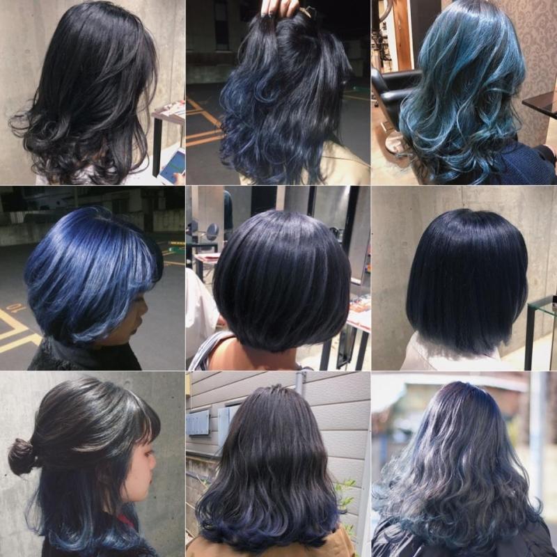 【2021夏トレンド】大人気流行ブルージュ、ネイビー(青髪)!!ブルー系ヘアカラーで赤みを消して透明感を出そう!